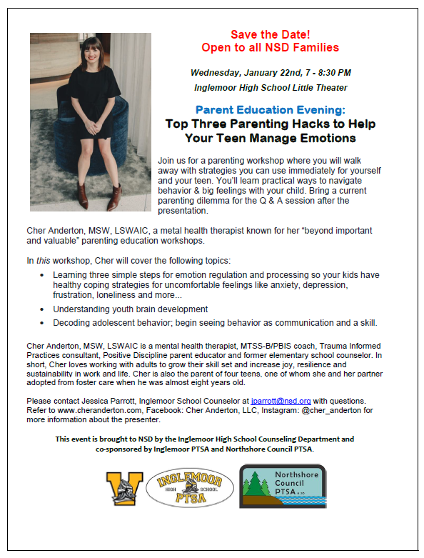 Picture of the flyer for Top Three Parenting Hacks to Help Your Teen Manage Emotions workshop