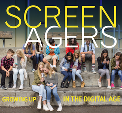 Screenagers: Growing Up in the Digital Age - a photo of many teenaged youth sitting on steps and looking at personal electronic devices