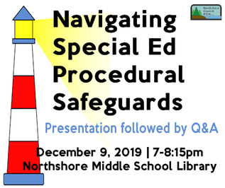 Navigating Special Ed Procedural Safeguards presentation followed by Q&A on December 9, 2019 from 7-8:15pm in the Northshore Middle School Library