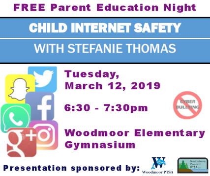 Child Internet Safety with Stefanie Thomas - Tuesday, March 12, 2019, 6:30-7:30pm, Woodmoor Elementary Gym